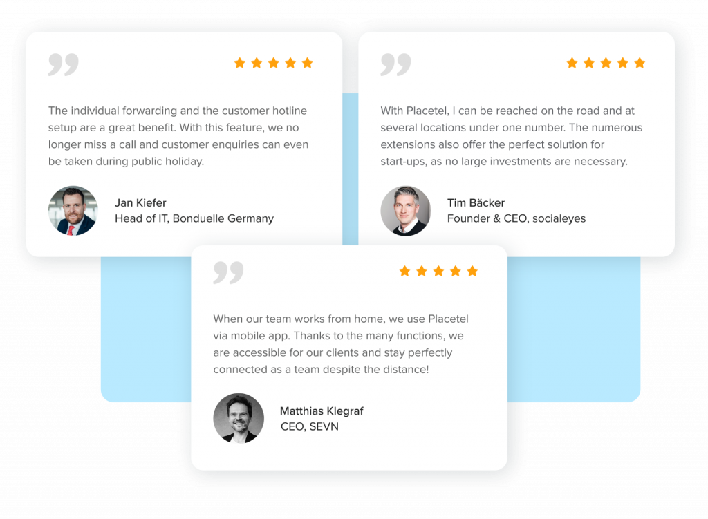 Placetel testimonials from socialeyes, SEVN and Bonduelle Germany