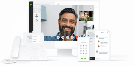 Placetel image showing telephone, mobile and desktop communication